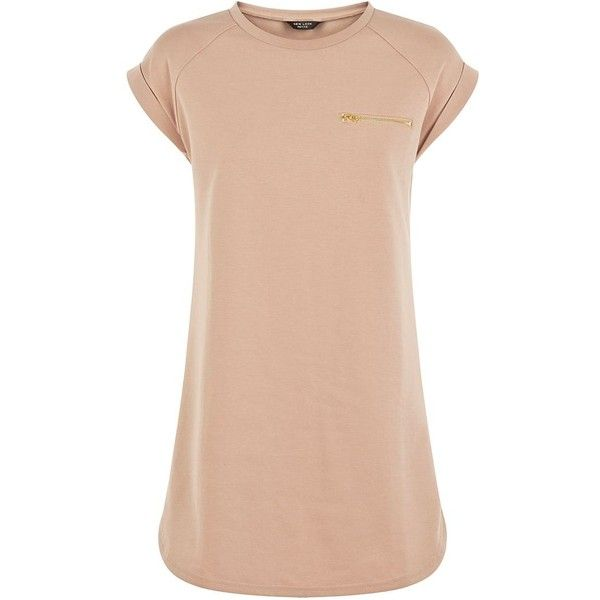 Petite Camel Zip Pocket T-Shirt Dress (1,280 PHP) ❤ liked on Polyvore featuring dresses, petite, pink shirt dress, tee dress, pink short sleeve dress, tshirt dress and petite dresses