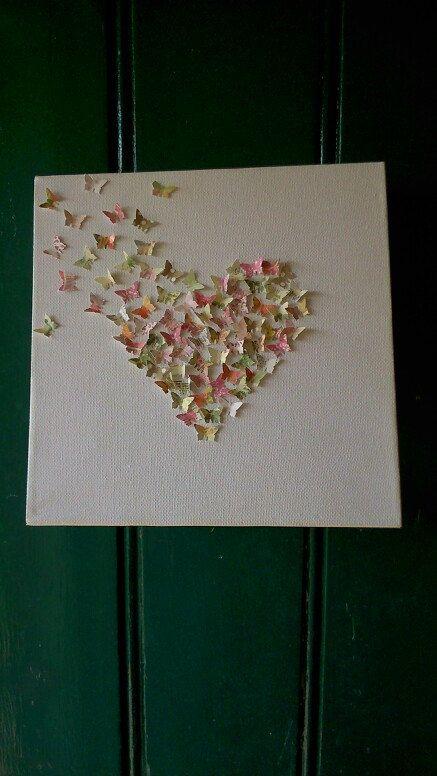 White canvass Butterfly Heart by sweetpeaandblue on Etsy, £10.00