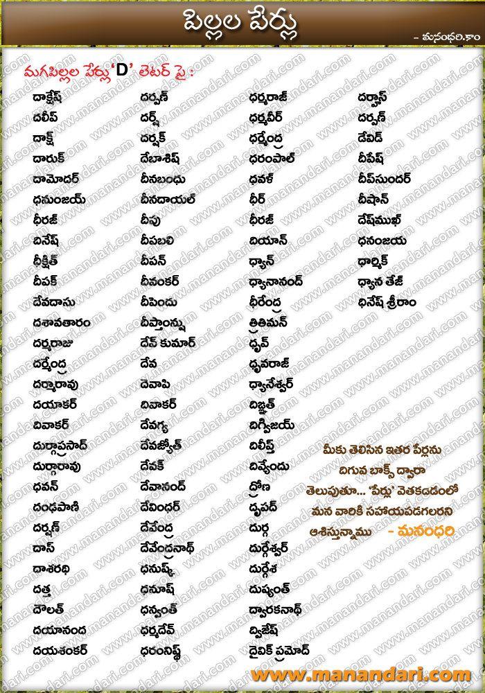 Telugu Baby Boys Names starting with D letter, Telugu Boys