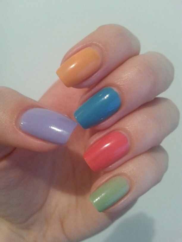 Pastel colorful nails: OPI Euro Centrale - You're Such A BudaPest, Can't Find My Czechbook, Suzi's Hungary AGAIN! & Astor nail polish