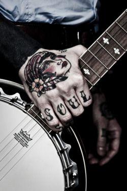 :-)Tattoo Shops, Tattoo Pattern, Banjos Tattoo, Real Estate, Hands Tattoo, Tattoo Design, Gypsy Soul Tattoo, Design Tattoo, Soul Music