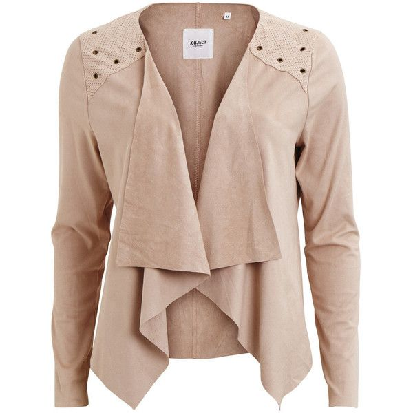 OPEN BLAZER - Object Collectors Item ❤ liked on Polyvore featuring outerwear, jackets, blazers, open front blazer, tall jackets, faux suede jacket, open front jacket and drape front jacket