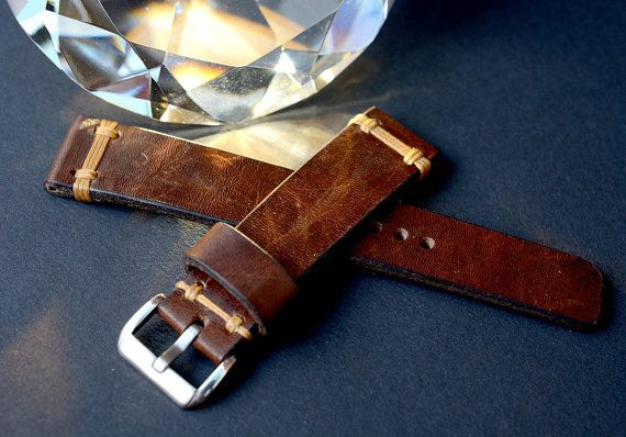 Brown vintage leather watch strap handmade by VladislavKostetskyi