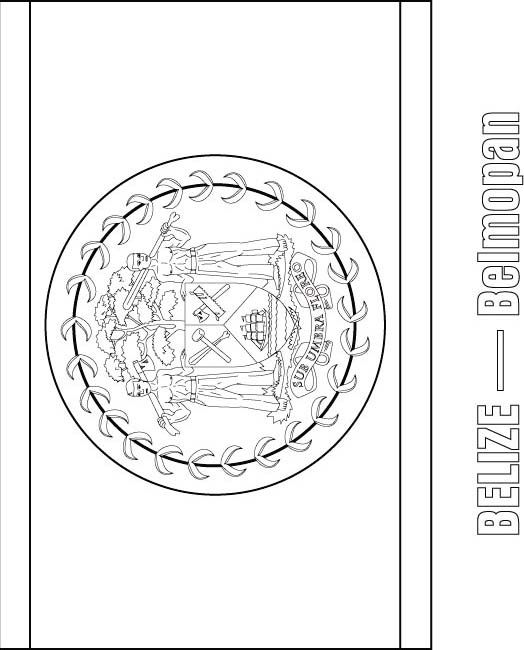 Belize Flag Coloring Page Central America Studies Central America Caribbean Flags Coloring Pages