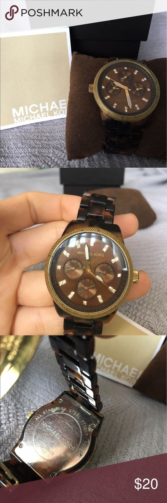 Michael Kors Tortoise Shell Watch ❗️PLEASE READ❗️This item is in obvious used condition. There are some scratches on the face, as well as along the band, and metals. There is some discoloration on the metal clasp. This watch needs some TLC, like polishing and replacing the battery. This is a beautiful watch but needs some TLC. MICHAEL Michael Kors Accessories Watches