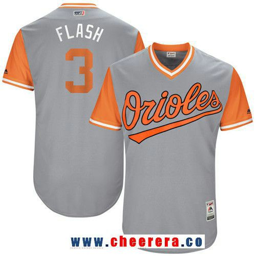 Men's Baltimore Orioles Ryan Flaherty -Flash- Majestic Gray 2017 Little League World Series Players Weekend Stitched Nickname Jersey