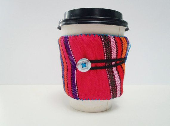 Coffee Sleeve Cozy Cup Drink Wrap Reusable Ecofriendly Pink Stripes Mexican fabric Southwestern