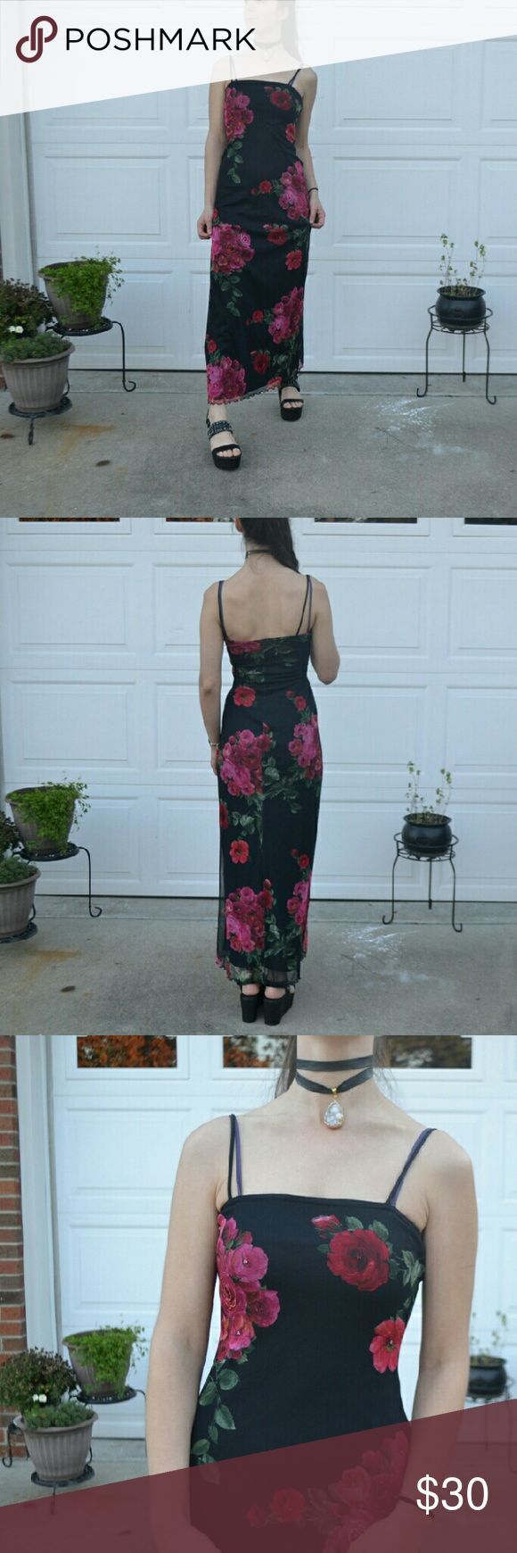 90s Floral Beaded Black Spaghetti Strap Maxi Dress UGH  Another slinky little black maxi dress that ties in with my (healthy) Rose McGowan obsession.  Brand is a vintage, looks 1990s era, All That Jazz  Size small  Very nice condition!  If any beads are missing, I didn't notice.  Spaghetti straps are lovely neckline is lovely style is lovely flowers are lovely just THIS DRESSSSS  School dance must have if you want something no one else will have!  Love it. All That Jazz  Dresses Maxi