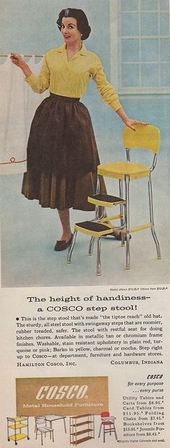 1959 Cosco ad for the best selling kitchen step stool EVER! I love the grey streak in her hair. Nice. (1959)