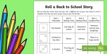 Roll a Back to School Story Storyboard Template - Back to School, story writing, story game, roll a story,Australia