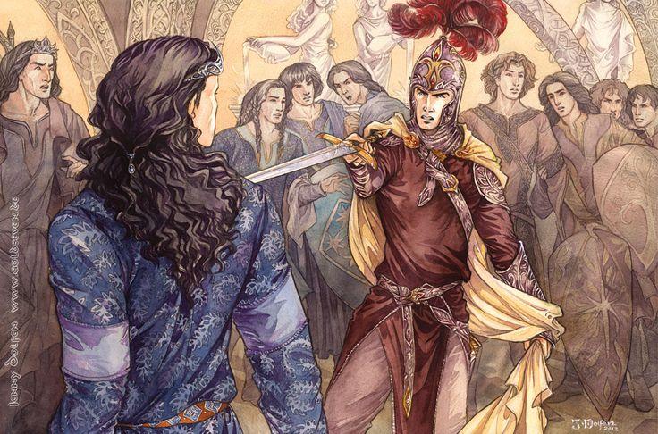 """""""Fëanor, entretanto, o acompanhou, detendo-o à porta dá casa do rei; e tocou o peito de Fingolfin com a ponta da espada brilhante."""""""