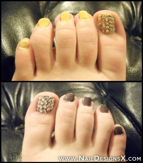 Gold Silver Toe Nail Art