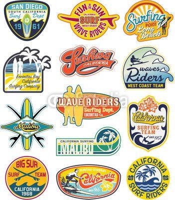 Vecteur : California vintage stickers collection