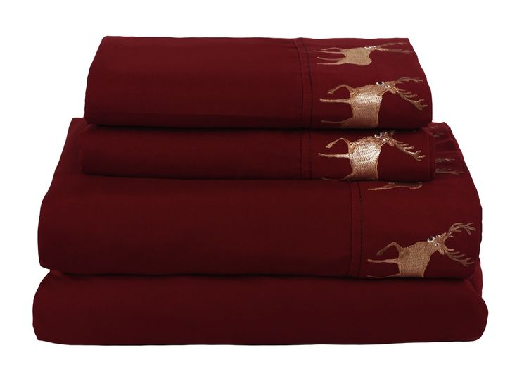Add rustic style to your bed with the king sized Zion microfiber sheet set from Beatrice. This four piece set includes a flat sheet, fitted sheet and two pillowcases. The quality brushed microfiber construction gives this sheet set a soft feel for added comfort. Each piece comes in a bold shade of red with embroidered deer on the pillowcases and flat sheet. The earth tones and woodland accents make this set ideal for cabin or lodge themed bedrooms.