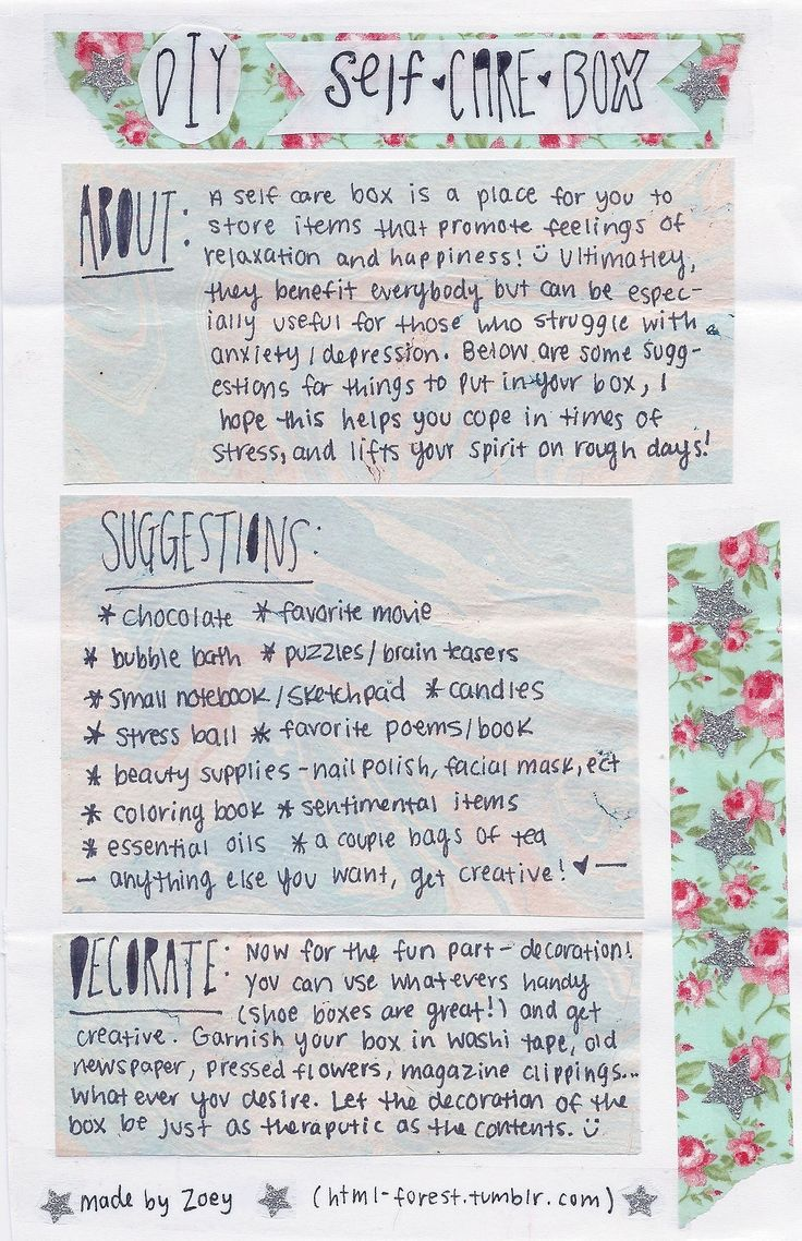 Self-Care Box (for anxiety/depression). Build your own comforting/soothing self care box for those bad days - when the world becomes too much.