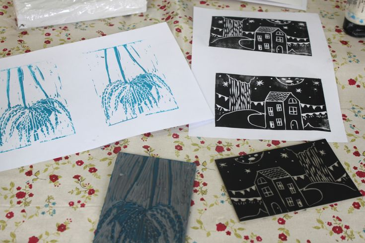 Lino Printing Workshop at S2R Create Space, Huddersfield. www.darnitworkshops.co.uk