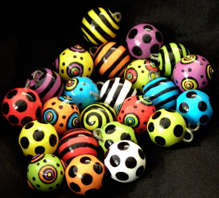 Bead Buttons in great Neon Colors with Black Dots, Black Spiral (looks like Stripes), or Layered Dots. Perfect addition to any sweater or children's outfit. Can be used as charms also.  http://claybuttons.com/Beads/Beads.html