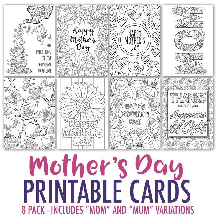 Mother S Day Coloring Cards 8 Pack Sarah Renae Clark Coloring Book Artist And Designer Mothers Day Card Template Mothers Day Coloring Cards Free Mothers Day Cards