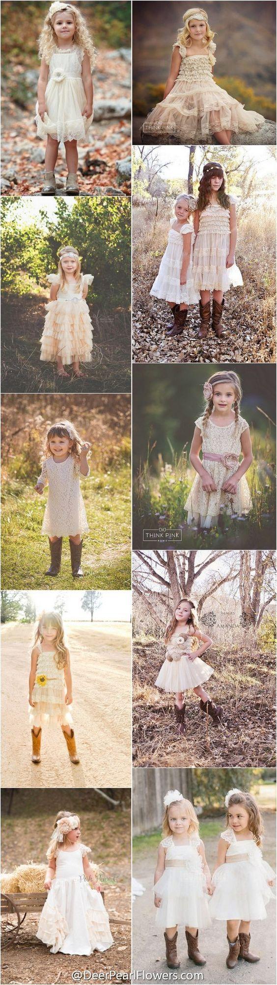 rustic country wedding ideas -  flower girl dresses / http://www.deerpearlflowers.com/flower-girl-dresses-for-country-weddings/
