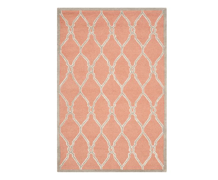 Handgetuft wollen tapijt Frances, beige/koraal, 121 x 182 cm   Westwing Home & Living