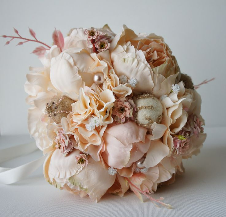 Peony Bridal Bouquet, Silk Wedding Flowers, Champagne Wedding Flowers, Vintage Wedding, Rustic Wedding Shabby Chic Wedding, Bride Bridesmade by FashionTouchWeddings on Etsy https://www.etsy.com/listing/249552759/peony-bridal-bouquet-silk-wedding