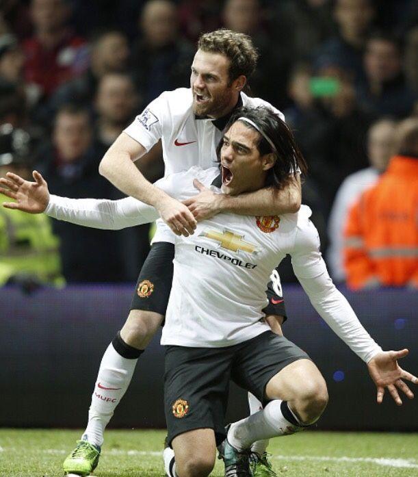Dec. 20th. 2014: Juan Mata and Radamel Falcao celebrate the latter's headed goal against Aston Villa