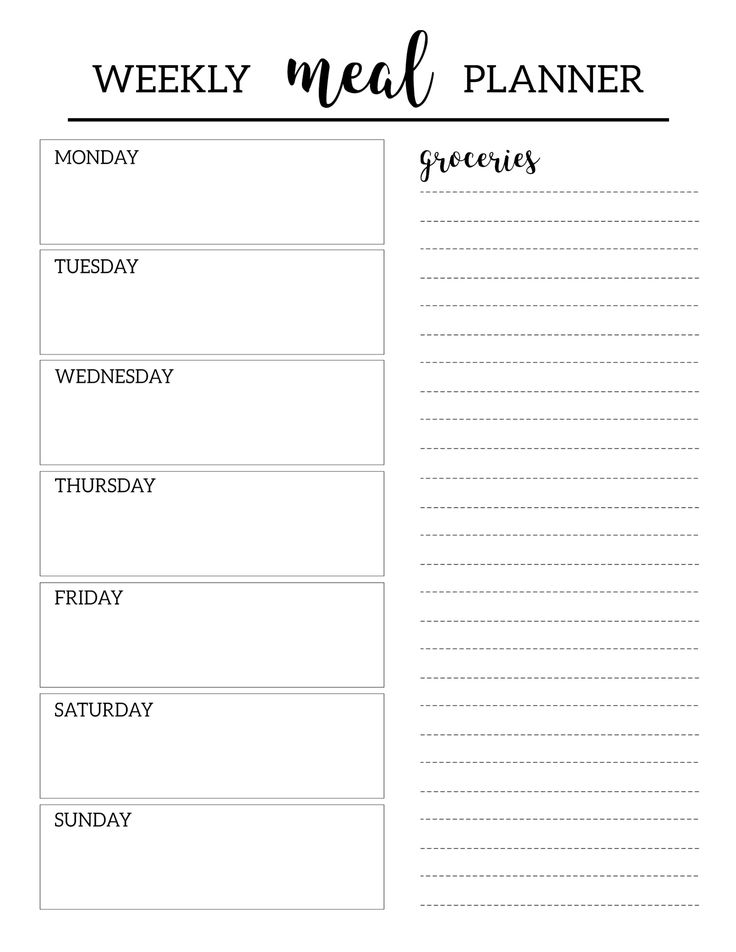 Free Printable Meal Planner Template. Weekly dinner menu plan DIY with grocery list included. Prep & organize daily meals and shopping list. #papertraildesign #mealplanning #mealprepping #weeklymealprep