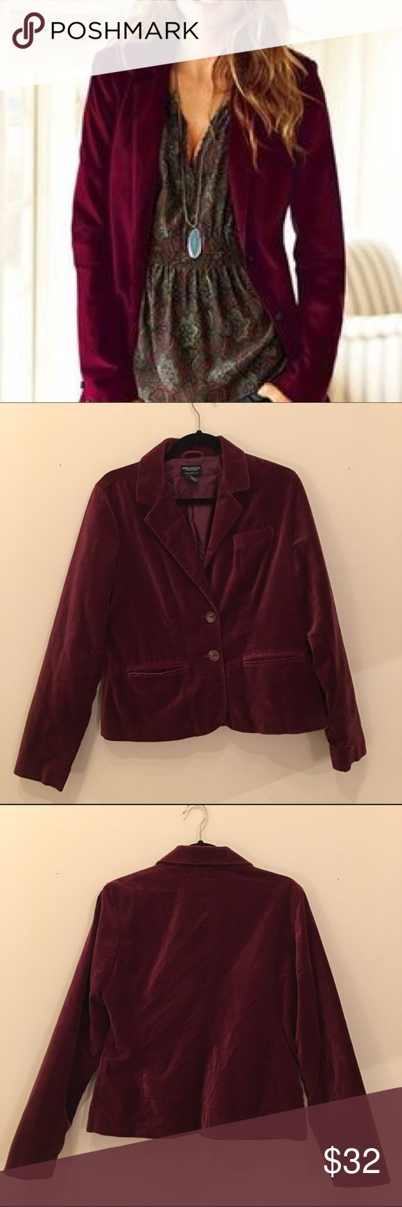 """SOLD American Eagle Velvet Burgundy Blazer measures pit to pit 20""""/ length 24"""" American Eagle Outfitters Jackets & Coats Blazers"""
