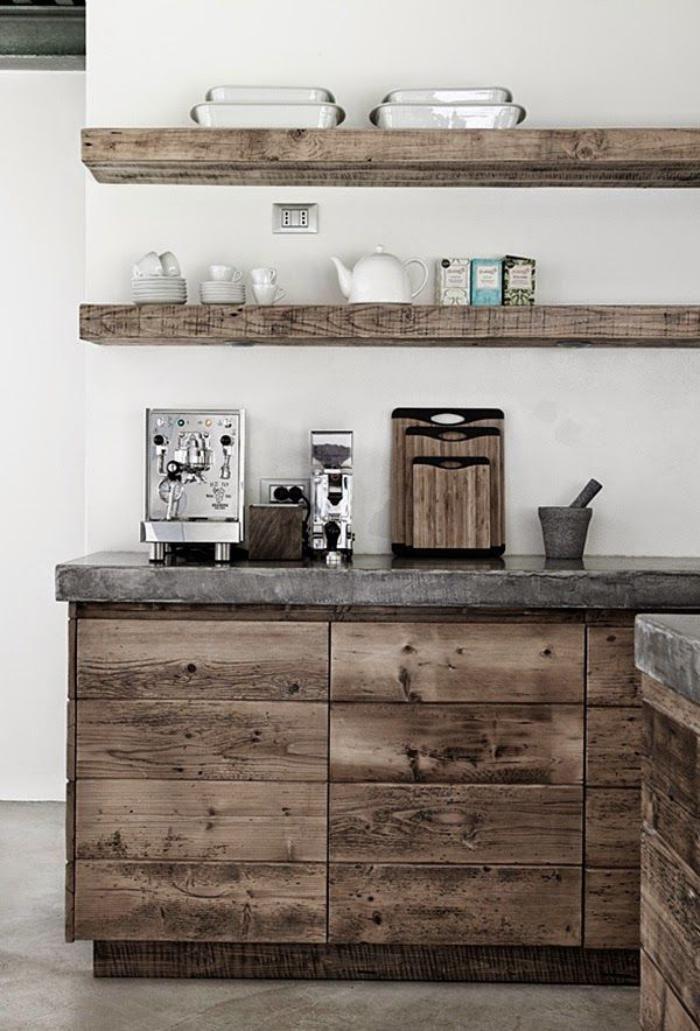 Meubles grange d co de cuisine bois de r cup cuisine for Cuisine bois recup