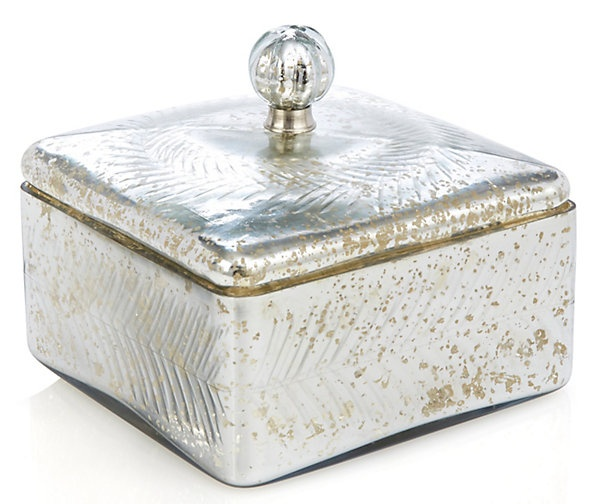 One Kings Lane - Country Fresh - Large Square Box w/ Garland, Silver