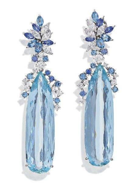 PAIR OF AQUAMARINE AND DIAMOND EARRINGS, Sotheby&#…