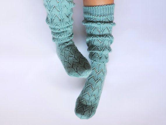 Mint knee high socks. Ocean blue boot socks. Ice aqua blue socks Hand knit wool socks Lace boot socks Spring accessories Lace boudoir socks on Etsy, $83.99