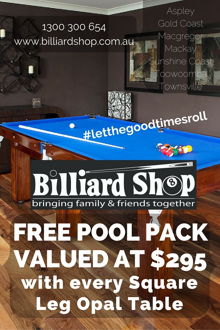 Get a free Pool Pack valued at $295 with every Square Leg Opal Pool Table.