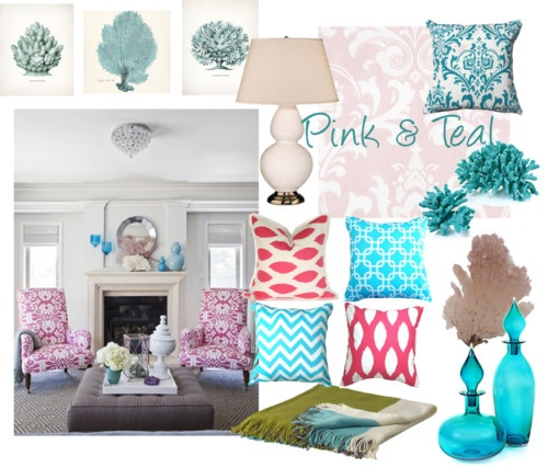 Pink teal bedroom dreamy dream house pinterest for Fuschia bedroom ideas