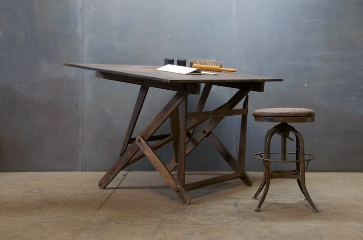 Drafting Table circa 1880's. Ran into an old friend that I never see -he asked me if I wanted this out of the blue - and I had just been looking for a vintage drafting table on craigslist hours earlier.