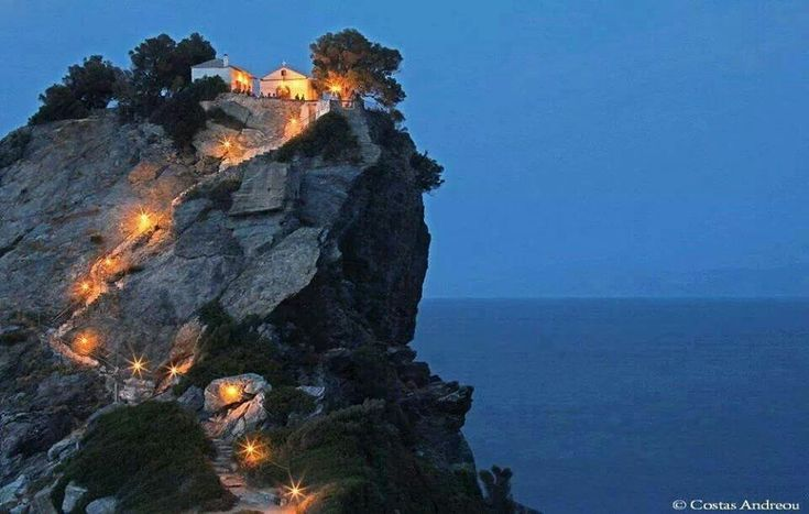 The top of the hill chapel used in Mama Mia's movie on Skopelos island!!
