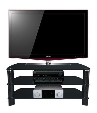 """Stil Stand Black Glass TV Stand up to 50"""" STUK2005 BB.    Stil-Stand through rod designs ensures a very stable and rigid structure, which contributes to the performance of both visual and audio products. The top profiles are UV bonded on the underside of the glass giving a smooth top glass surface, with the aluminium legs enhancing the TV stand.      Dimensions: 1075x455x495 (wxdxh)     Suitable for LCD screens up to 50""""     3 Shelf Black Glass TV Stand with black legs.  stuk2005bb."""