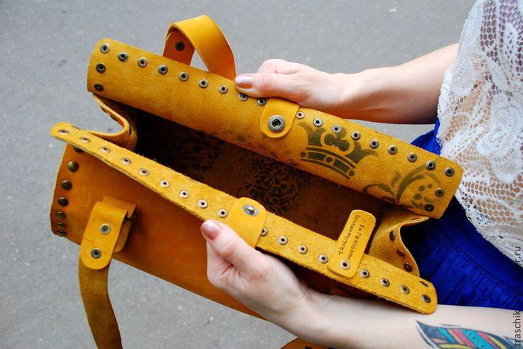 Купить Желтая сумка - желтый, сумка из натуральной кожи, сумка женская, Кожаная сумка