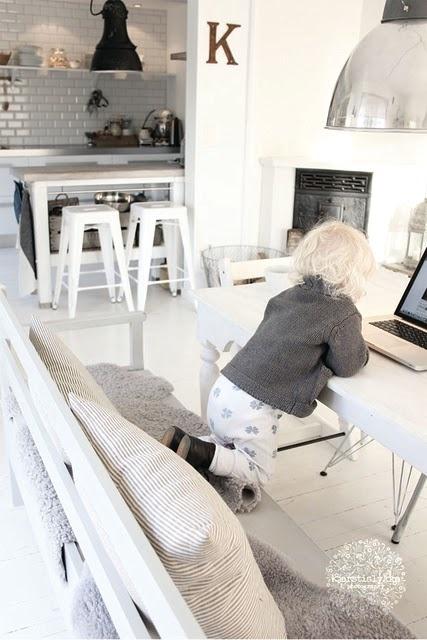 Dreamy White Interior, White Tolix Stools