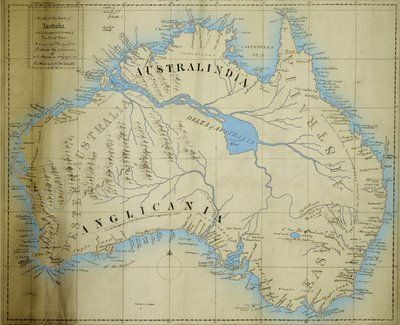 Maslen's map of the mythical inland sea of Australia.  In the early 19th century, with the majority of the non-coastal areas of  Australia still unexplored, the commonly held misconception was that central  Australia must have an inland sea and major river system. The belief was at its  highest following the publication in 1827 of 'The Friend of Australia' by a retired  East India Company employee, Thomas J Maslen. His map, or at least the inland sea,  adjoining river and the labelled…