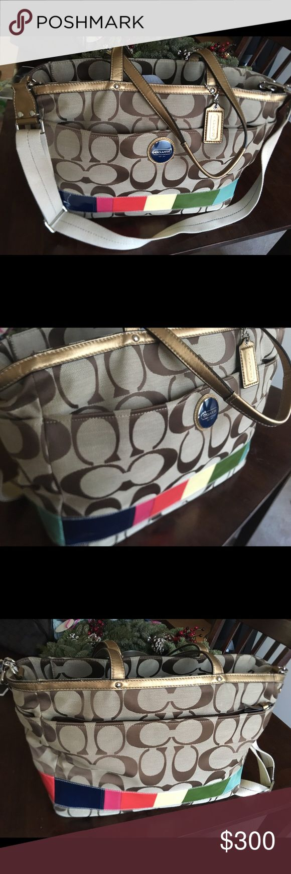 Authentic - Coach Signature Travel Bag 💖 Beautiful brand new Coach bag I got for Christmas one year and never used it once. Older classic style. It can be used for a Laptop bag for traveling, diaper bag, and a purse.. Or all 3! Please no lowballers as this is an amazing deal for a bag like this and never used. Its been closet hopping since it's bigger and I never used it. I just want someone to love on it!     I am also open for trades for MK or Kate Spade or Burberry. Coach Bags