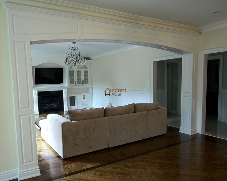 Recessed Paneled Arch in Living Room in a House Markham