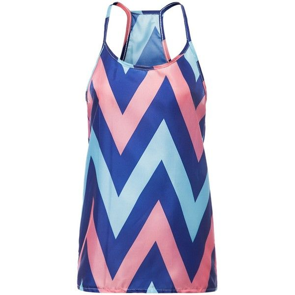 Sleeveless Spaghetti Strap Chevron Top ($5.54) ❤ liked on Polyvore featuring tops, spaghetti strap tank top, spaghetti strap tank, blue sleeveless top, blue top and spaghetti strap top