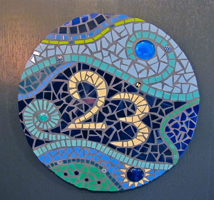 Mosaic House Number made with ceramic tiles, glass foiled beads, glass nuggets and millefiore.
