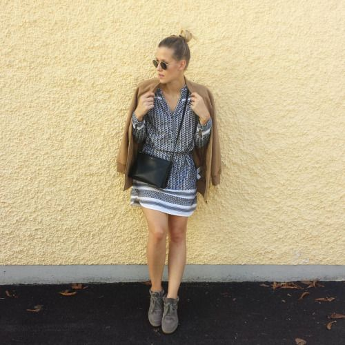 tifmys - Ray Ban Round Metal sunnies, Forever 21 jacket, Céline trio bag, Saint Tropez Ice dress & Isabel Marant Bobby sneakers.