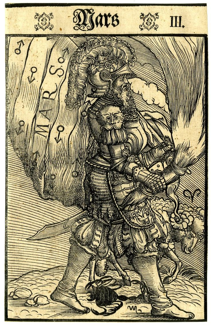 Mars; whole-length figure dressed as a warrior, walking to right, holding a burning torch and a banner; at right a ram representing Aries and at centre a scorpion representing Scorpio; from a series of seven woodcuts.