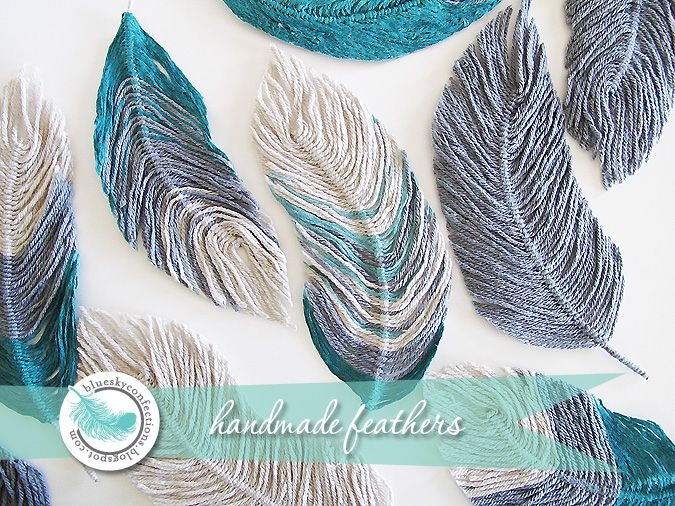 pretty yarn feathers, no tutorial, but should be able to make by folding a piece of yarn in half and looping around a stem, alternating sides... {blue sky confections}: Handmade Feathers, Diy'S Beauty, Yarns Feathers, Beauty Handmade, Blue Sky, Creative, Feathers Tutorials, Crafts Idea, Sky Confect