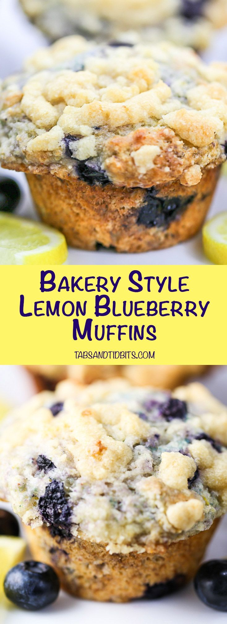 Tender bakery style muffins filled with blueberries and lemon zest and topped with a sweet and buttery streusel topping.
