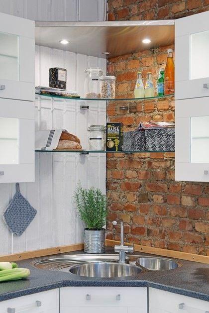 Kitchen Corner Sink Shelf Kitchen Pinterest