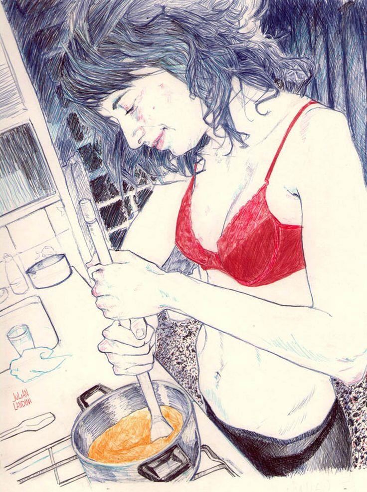 A selection of ballpoint pen drawings by artist Julian Landini. More images below.                      Julian Landini's Website